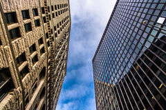 Looking up at highrises in downtown Baltimore, Maryland. Stock Image