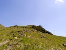 Looking up hillside to top fell area Royalty Free Stock Image