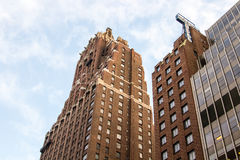 Looking up at Hilton Manhattan East, formerly the Tudor Hotel, New York Stock Images