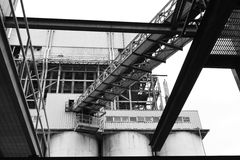 Looking Up At Industrial Structures Royalty Free Stock Images