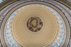 Looking up inside the Dome of the Capitol Building in Washington. Inside the dome and rotunda of the Washington DC Landmark Stock Images
