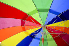 Looking up inside a Multicoloured Umbrella. Red, yellow, purple, blue and, green Royalty Free Stock Image