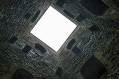 Looking up St Michaels Tower, Glastonbury Tor. Looking up the inside of St Michaels tower on top of Glastonbury Tor Stock Images
