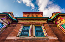 Looking up at an interesting building in New Oxford, Pennsylvani Royalty Free Stock Image