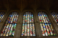 Looking Up at Kings College Chapel Stained Glass Stock Photos