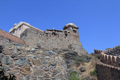 Looking up at Kumbhalgarh. Kumbhalgarh Fort is a Mewar fortress on the westerly range of Aravalli Hills, in the Rajsamand District of Rajasthan state in western Stock Image