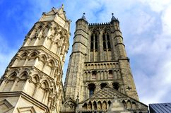 Looking up at Lincoln Cathedral Stock Photos