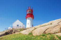 Looking up at the Lindesnes lighthouse stock photo