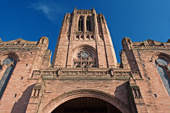 Looking up at Liverpool Anglican cathedral. Liverpool Anglican Cathedral, Grade 1 listed building Stock Photo