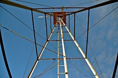 Looking up the Look Out Tower. A vintage rebuilt lookout tower provides climbers to view surroundings Royalty Free Stock Photos