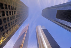 Looking up at Los Angeles office towers, Los Angeles, California Stock Photos