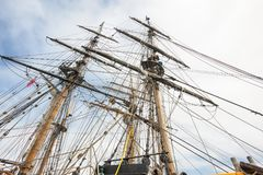 Looking up at the masts on Tall Ships stock photos