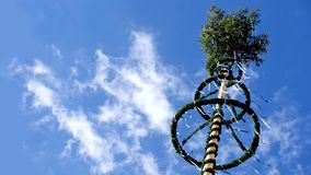 Looking up a Maypole. With blue sky. n Royalty Free Stock Image
