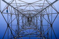 Looking up metal electricity pylon Royalty Free Stock Photos