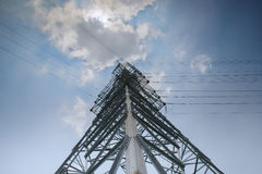 Looking up metal electricity pylon Stock Photography
