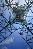 Looking up metal electricity pylon Royalty Free Stock Images