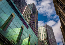 Looking up at modern buildings and a beautiful sky in Boston, Ma Royalty Free Stock Photo