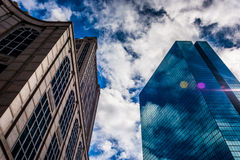 Looking up at modern buildings and a beautiful sky in Boston, Ma Royalty Free Stock Image