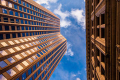 Looking up at modern buildings in Boston, Massachusetts. Royalty Free Stock Photography