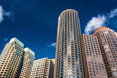 Looking up at modern buildings in Boston, Massachusetts. Stock Photo