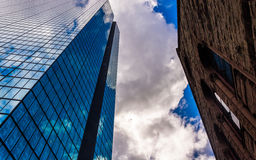Looking up at modern buildings and cathedral  in Boston, Massach Stock Image