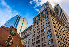 Looking up at modern buildings and old architecture in Boston, M Royalty Free Stock Photo