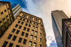 Looking up at modern buildings and old architecture in Boston, M Royalty Free Stock Photos