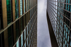 Looking up at modern glass buildings in Philadelphia, Pennsylvan Royalty Free Stock Photos