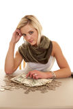 Looking up money table Royalty Free Stock Photo