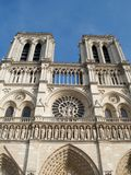 Famous bell towers of Notre Dame Cathedral in Paris, France stock images