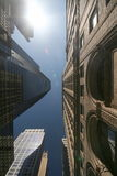 Looking up in NYC. Street, sky and buildings Royalty Free Stock Photography
