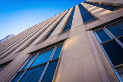 Looking up at an office building in Baltimore, Maryland. Stock Photo