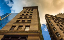 Looking up at office buildings in downtown Boston, Massachusetts Stock Photography