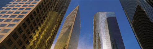 Looking up at office towers, Los Angeles, CA Royalty Free Stock Photography