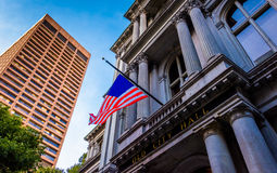 Looking up at Old City Hall in Boston, Massachusetts. Royalty Free Stock Images