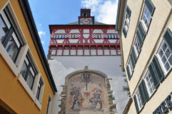 Looking up at an old half-timbered tower. Looking up at an old half-timbered tower with historical engravings. Bietigheim, Baden-Wurttemberg, Germany Stock Images