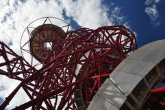 Looking up at The Orbit, Olympic Park, London. The Orbit, the tallest art sructure in Britain at the Olympic Park, London Stock Image