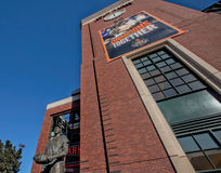 Looking Up Outside AT&T Park. Home of the San Francisco Giants, professional baseball team in the National League of Major League Baseball (MLB). The game Royalty Free Stock Photo
