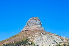 Lion`s Head Mountain. Looking up at the peak of Lion`s Head mountain in Cape Town stock photo