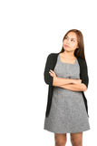 Looking Up Pensive Asian Woman Arms Crossed V Stock Photos