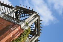 Looking up at pergola at angle Royalty Free Stock Photos