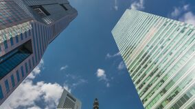Free Looking Up Perspective Of Modern Business Skyscrapers Glass And Sky View Landscape Of Commercial Building In Central Stock Images - 196764664