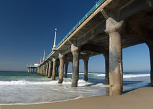 Looking up at the pier and ocean. Manhattan beach California Panoramic with the pier Stock Photos