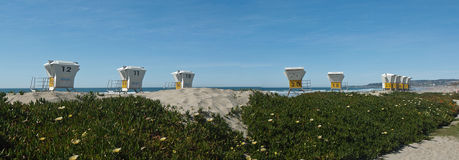 Looking up at the pier and ocean. Mission beach California Panoramic with lifeguard towers Stock Images