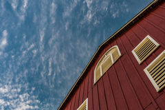 Looking Up at Red Barn and Sky Royalty Free Stock Images