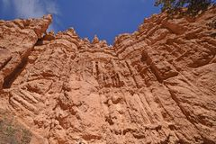 Looking up into red rock cliffs. In Bryce Canyon National Park in Utah Stock Image