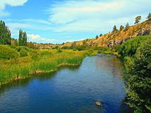 Looking Up River. Deschutes River at Lower Bridge Crossing - west of Terrebonne, OR stock photos