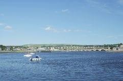 Looking up river Tweed at Berwick. River Tweed estuary to bridges of Berwick upon Tweed Royalty Free Stock Photos