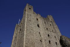 Looking up at Rochester Castle. Historical Castle in Rochester Kent Norman Architecture situated on the banks of the river Medway Royalty Free Stock Images
