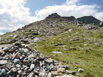 Looking up rocky route to Swirl How, Lake District Royalty Free Stock Photo